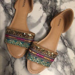 Flat slide on boho sandals